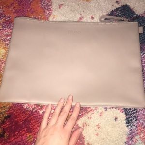 Large taupe genuine leather cosmetic bag